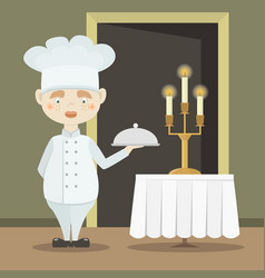 cute funny chef cook in the cap vector image