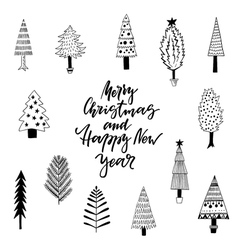 Cute greeting card with christmas trees vector