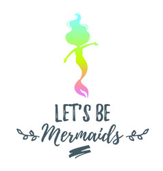 Cute mermaid character silhouette vector
