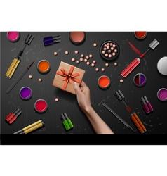 Decorative cosmetics make up accessories beauty vector