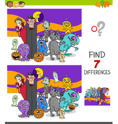 differences game with scary halloween characters vector image