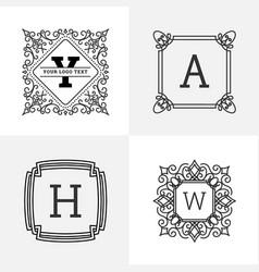 elegant vintage monogram logo design vector image