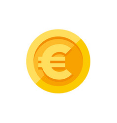 Euro sign on gold coin flat style vector