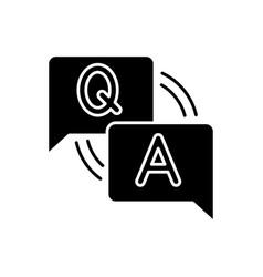 faq black glyph icon vector image