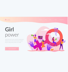 Feminism landing page template vector