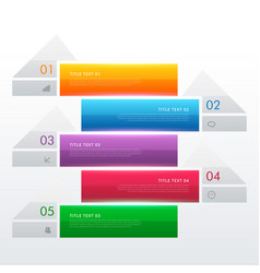 five steps multi color infographic banners vector image