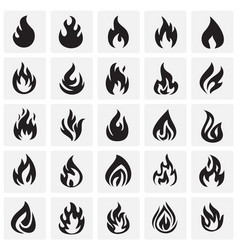 Flame icon set on squares background for graphic vector