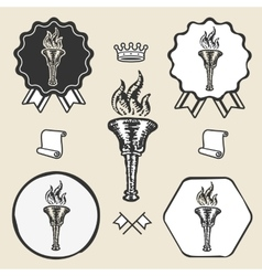 Flame torch vintage symbol emblem label collection vector