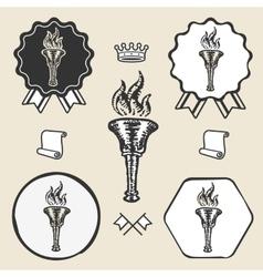 Flame torch vintage symbol emblem label collection vector image