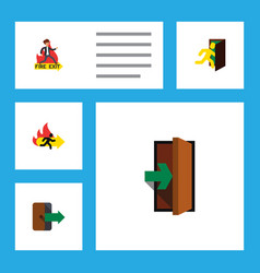 flat icon emergency set of emergency entrance vector image