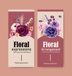 Floral wine flyer design with mouquet lavender vector