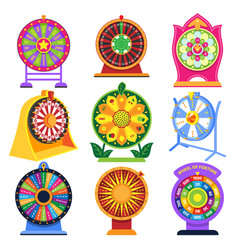 Fortune wheel spin game icons roulette vector