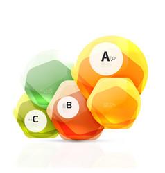 Glass color hexagons glossy plastic hexagon vector