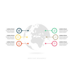 globe surrounded 6 colorful infographic vector image