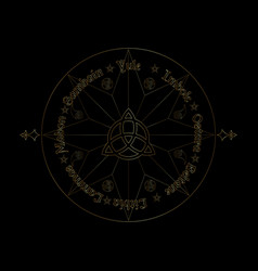 Gold book shadows wheel year wiccan vector