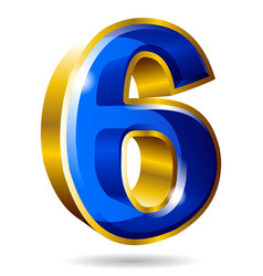golden and blue number 6 isolated on white vector image