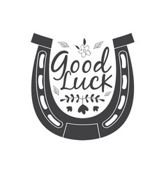 Good luck wish phrase in horseshoe cartoon vector