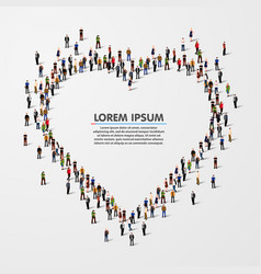 group people in heart vector image