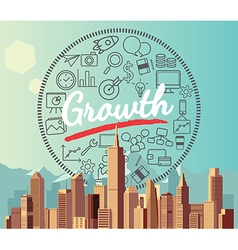 Growth on city and mountain background vector image
