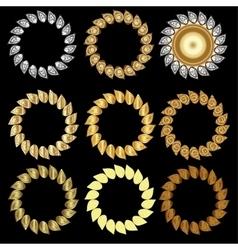 Hand-drawn golden laurel wreaths vector image