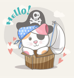 happy cute pirate cat for kids vector image