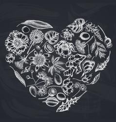 Heart floral design with chalk almond dandelion vector