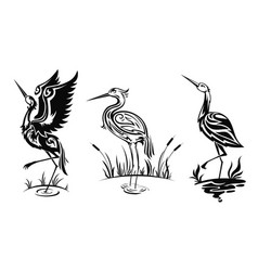 heron or wader birds icons black herns vector image