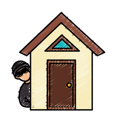 House with thief avatar character icon vector
