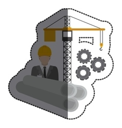 Isolated architect and crane design vector