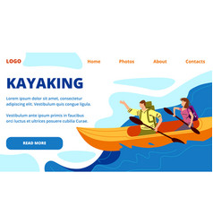 Kayaking horizontal banner young people row kayak vector
