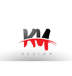 ky k y brush logo letters with red and black vector image