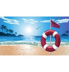 Lifebuoy on beach vector