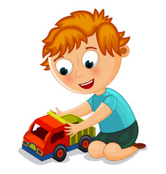 little boy playing with toy truck vector image