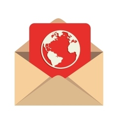 Mail globe world earth message inbox vector