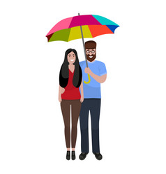 Man and woman with rainbow umbrella in a good mood vector