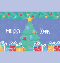 merry christmas pine tree with star balls and gift vector image