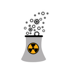 monochorme silhouette nuclear reactor with hazard vector image