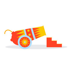 multicolored circus cannon on wheels ladder vector image