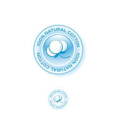 Natural cotton logo emblem vector