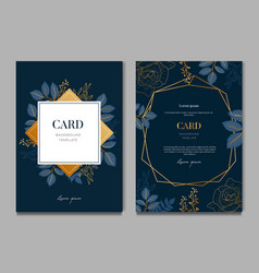 navy blue card with golden leaves card and vector image