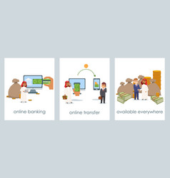 online banking and money transfer through internet vector image