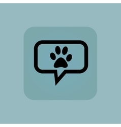 Pale blue paw message icon vector