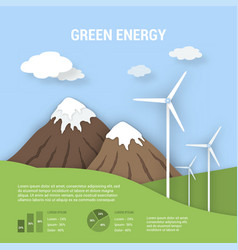 Paper art ecological banner green energy vector