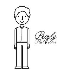 people flat line design vector image