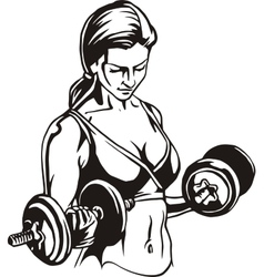 Pretty young woman lifting dumbbells vector image