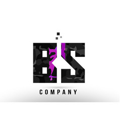 Purple black alphabet letter bs b s logo vector