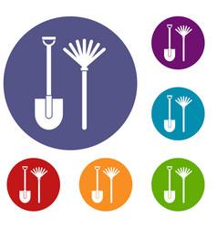 rake and shovel icons set vector image