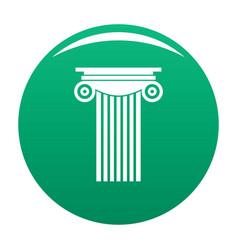 Reinforced concrete column icon green vector