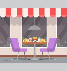 restaurant terrasse with table and served food vector image