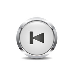 rewind icon image round 3d button with metal frame vector image